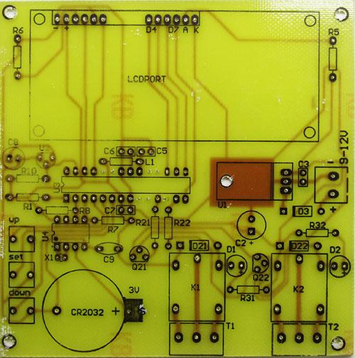 PCB Top کنترل و برنامه ریزی دو رله با زمان یا دما