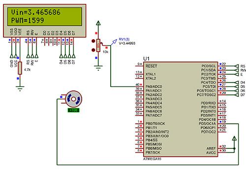 کنترل استپ موتور با پتانسومتر ADC