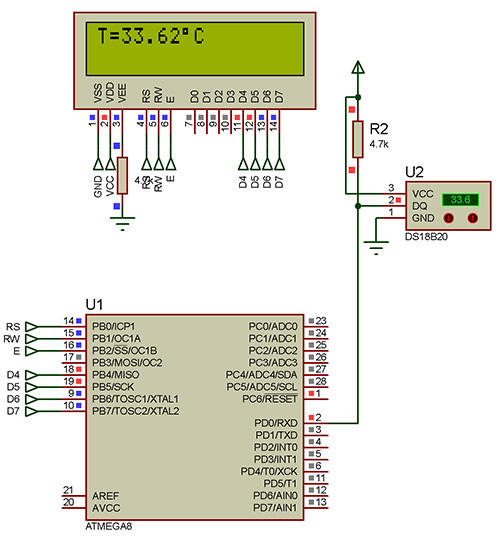 اندازه گیری دما توسط سنسور دیجیتال DS18B20